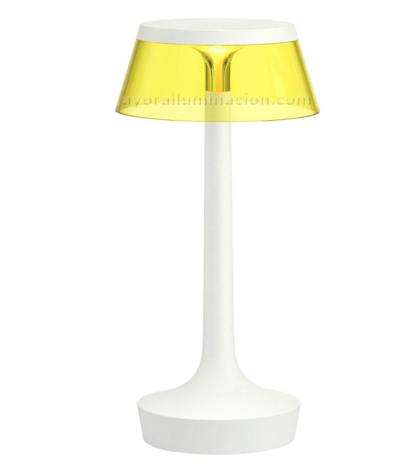 bon-jour-unplugged-flos-blanco-corona-amarilla-philippe-starck-sin-cable-ayora-iluminacion