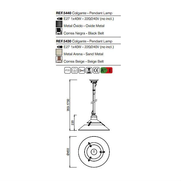 lampara-industrial-mantra-5440-5430-esquema