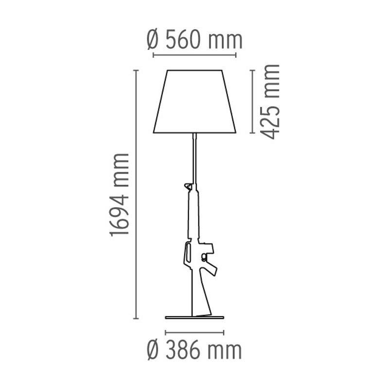 flos-lampara-sobremesa-gun-lounge-chrome-second-amedment-arma-cromo-oro-philippe-starck-dimensiones