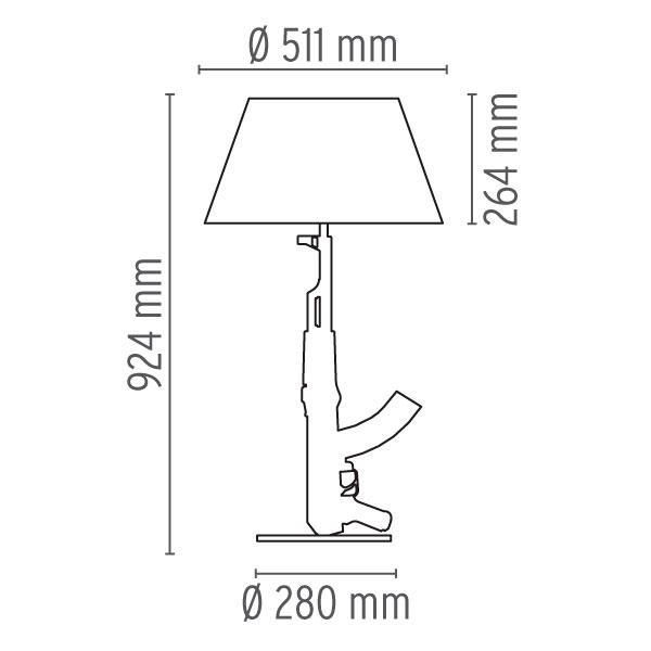 flos-lampara-sobremesa-gun-lounge-chrome-second-amedment-arma-cromo-philippe-starck-dimensiones